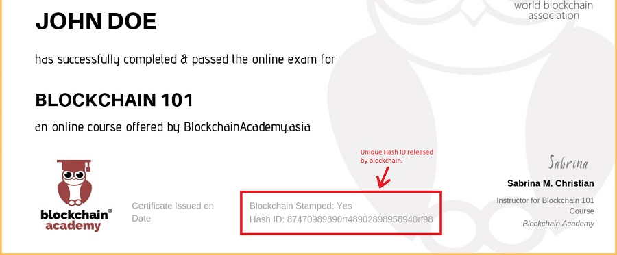 Blockchain Certification Sample