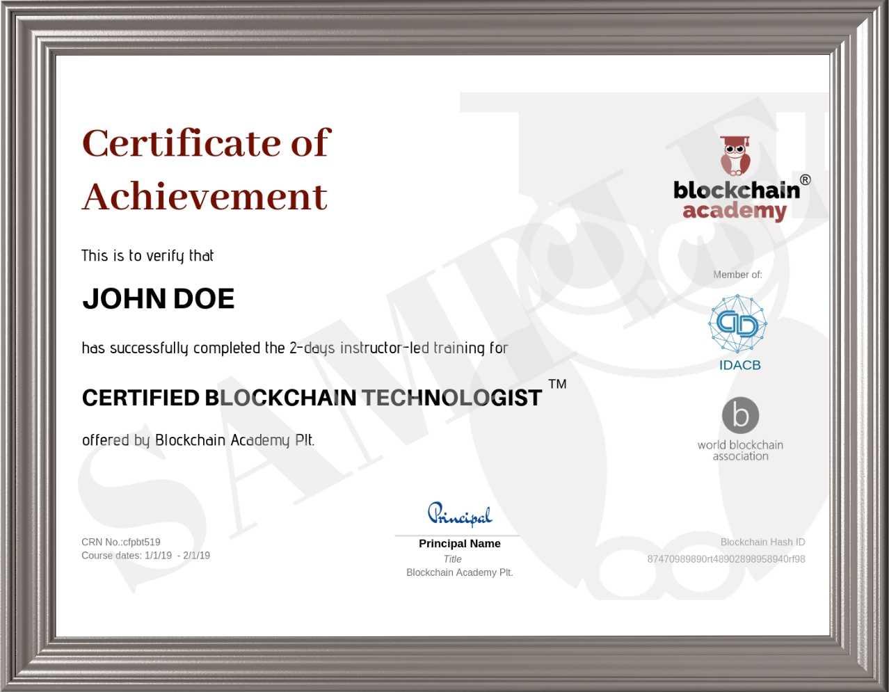 Certificate of Achievement CBT